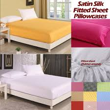Fitted Sheets Luxury Satin Silk Fitted Bed Sheet Elastic Bed Cover Mattress