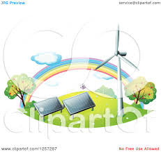 solar panels clipart clipart of a rainbow wind turbine and solar panels royalty free