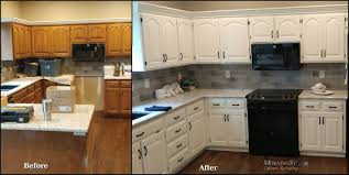 Kitchen Cabinets Refinished Cabinet Refinishing Before And After
