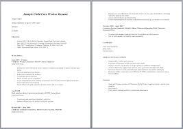 Sle Resume Of Child Caregiver Resume Exles For Daycare Worker Exles Of Resumes
