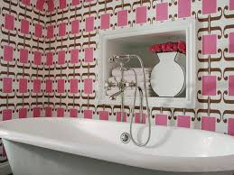 lavish pink bathrooms interior design with unique patterned pink