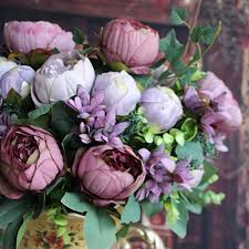 Artificial Peonies Artificial Peony Silk Flowers Bridal Bouquet Hydrangea Decor