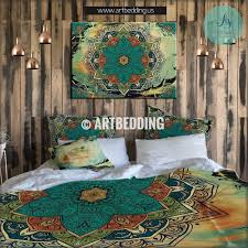 boho bedding vintage mandala duvet cover set turquoise and olive