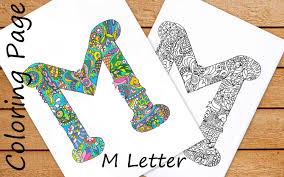 letter m colouring page zentangle art inspired adults