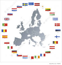 Flags Of Countries In Europe European Union Map With Flags In Circle Illustration