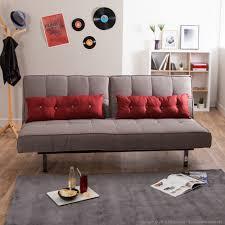 rembourrage coussin canapé canapé clic clac tissu taupe coussins déco rouges pieds métal