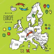 World Map Of Europe by Cartoon Style Hand Drawn Travel Map Of Europe With Pins Vector
