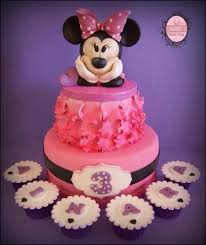 splendid minnie mouse third birthday cake and cupcakes between
