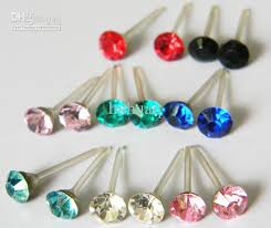 plastic earrings anti allergic rhinestone stud earring plastic stick sparkling