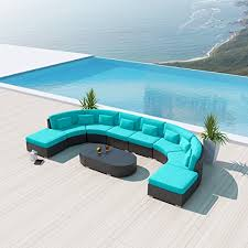 Wicker Sectional Patio Furniture by New Uduka Vienna 9pcs Outdoor Turquoise Round Sectional Patio