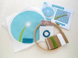 dandelion embroidery kit mindfulness relaxing craft sets