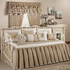 bedroom cozy white daybed covers with flokati rug and cozy wood