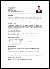 application resume format resume for it application krida info