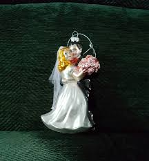 blown glass wedding and groom tree ornament