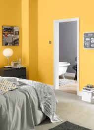 Gray Bedroom Paint Ideas Yellow And Grey Bedroom Painted With Crown Solo One Coat Matt