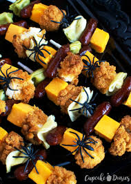 Vegetarian Halloween Appetizers Chicken And Pasta Skewers