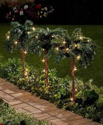 small lighted palm trees set of 3 outdoor indoor yard garden