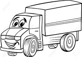 black and white cartoon illustration of funny truck or lorry