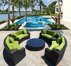 Round Patio Furniture by Giant Solange Round Outdoor Wicker Sectional Sofa Patio Furniture