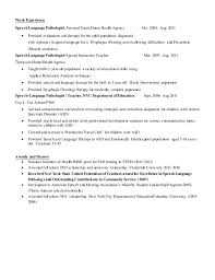 Speech Language Pathology Resume Examples by George Castle Cv 2016