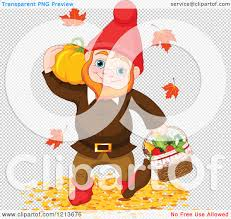 pumpkin no background cartoon of a happy autumn gnome carrying a pumpkin and basket of