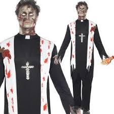 Walking Dead Halloween Costume Mens Zombie Priest Vicar Costume Walking Dead Halloween Fancy