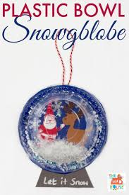 plastic bowl snow globe for simple crafts