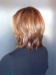 front and back of inverted bob hair long inverted bob with caramel medium hairstyle in back view