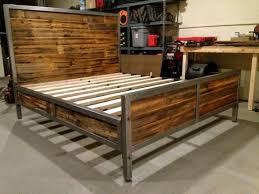 Metallic Bed Frame Wood And Metal Bed Frame Best 25 Steel Bed Frame Ideas On