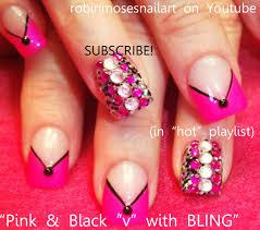 nail art design pink and black nails retro nails brady bunch