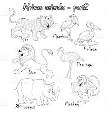 set of cute african animals coloring page funny cartoon characters