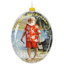mele kalikimaka hawaii santa on the beach ornament keepsake