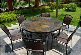 Mosaic Patio Table And Chairs Oceane 63 Mosaic Slate Garden Patio Table Craftsman