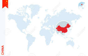 World Map With Flags World Map With Magnifying On China Blue Earth Globe With China