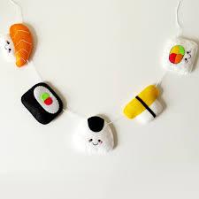 Kitschy Home Decor by Sushi Felt Garland Kawaii Wall Hanging Fun Felt Bunting