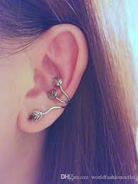 earring on ear 2018 fashion ear cuff vintage alloy ear stud leaf design earring