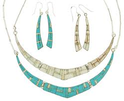 opal earring necklace set images Reversible turquoise and opal inlay necklace earring set gif