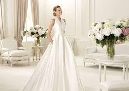 simple pockets floor length satin a line halter wedding dresses