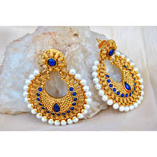 bluestone earrings royal blue gold chand bali earrings