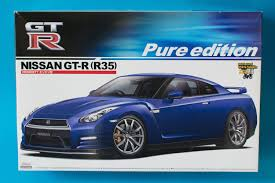 nissan gtr model car aoshima 1 24 nissan gt r r35 pure edition model kit unboxing and