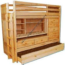 Wood Loft Bed With Desk Plans by Amazon Com Bunk Bed All In 1 Loft With Trundle Desk Chest Closet