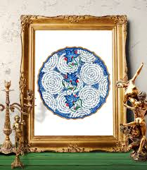 ottoman blue floral watercolor painting turkish flower wall