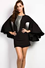 dress with necklace images Charming goddess black bell sleeves dress jpg