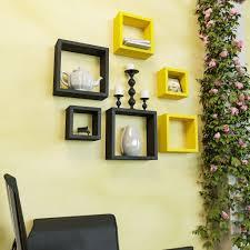 Home Decor Nation Home Decor Wall Shelves Rack Unit Yellow U0026 Black