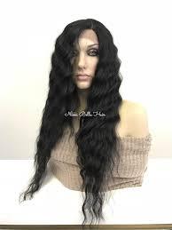 black hair for the beach black long beach waves human hair blend swiss lace front wig 24