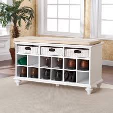 Bench With Shoe Storage Southern Enterprises Chelmsford Entryway Bench White Hayneedle
