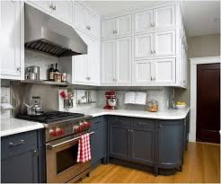 top cabinets different color than bottom white gray lower kitchen cabinets make a small space
