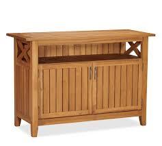 Solid Wood Buffet Table Hampstead Teak Buffet Honey Pottery Barn