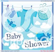 clipart of a blue boy baby shower design with a onesie socks and