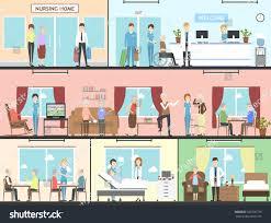 nursing home interior set wards living stock vector 566730739